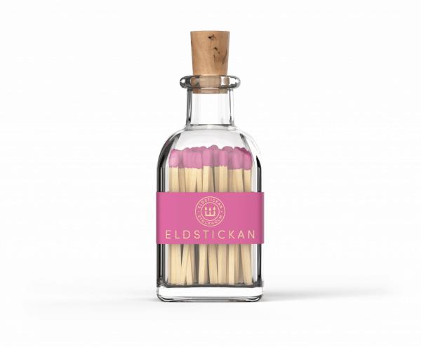 dekoratyviniai degtukai eldstickan rožinės spalvos stikliniame inde su kamščiu